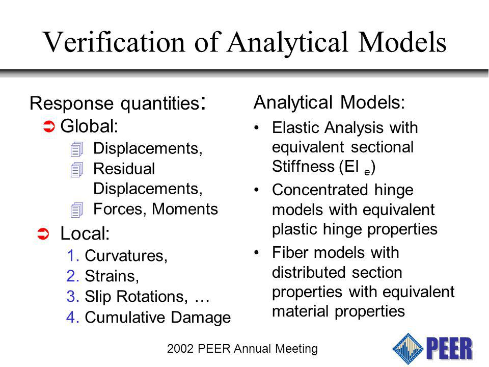 2002 PEER Annual Meeting Elastic Models Various assumptions for approximating effective section stiffness EI EI e as defined by Caltrans gives reasonable results for maximum displacement EI e Test Maximum Credible