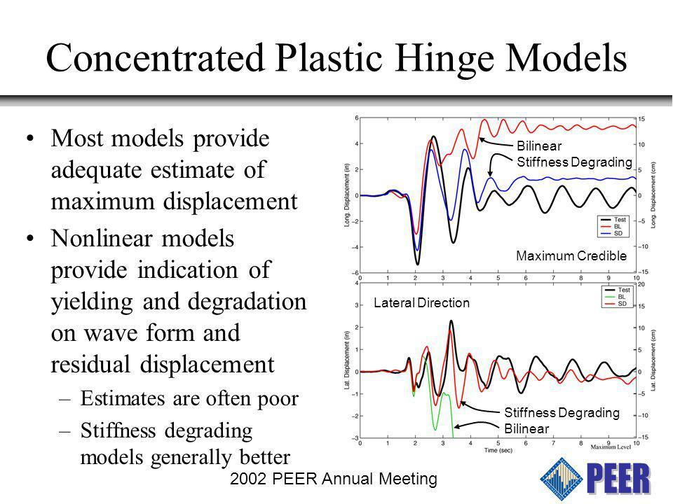 2002 PEER Annual Meeting Concentrated Plastic Hinge Models Bilinear Stiffness Degrading Maximum Credible Stiffness Degrading Bilinear Lateral Direction