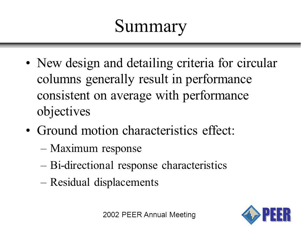 2002 PEER Annual Meeting Summary Analytical models involve significant levels of judgement to get adequate prediction of performance Nearly all models with reasonable stiffness estimates can predict max.