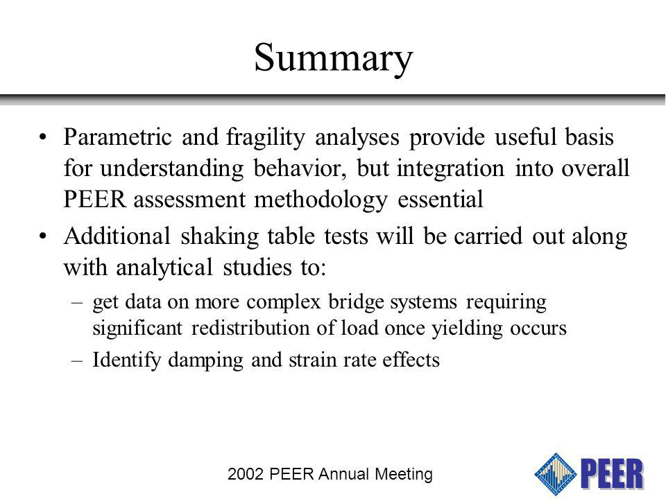 2002 PEER Annual Meeting Summary Parametric and fragility analyses provide useful basis for understanding behavior, but integration into overall PEER