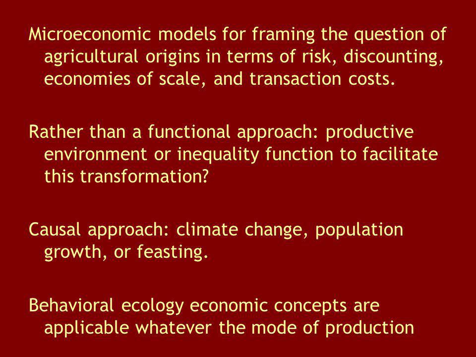 Microeconomic models for framing the question of agricultural origins in terms of risk, discounting, economies of scale, and transaction costs. Rather