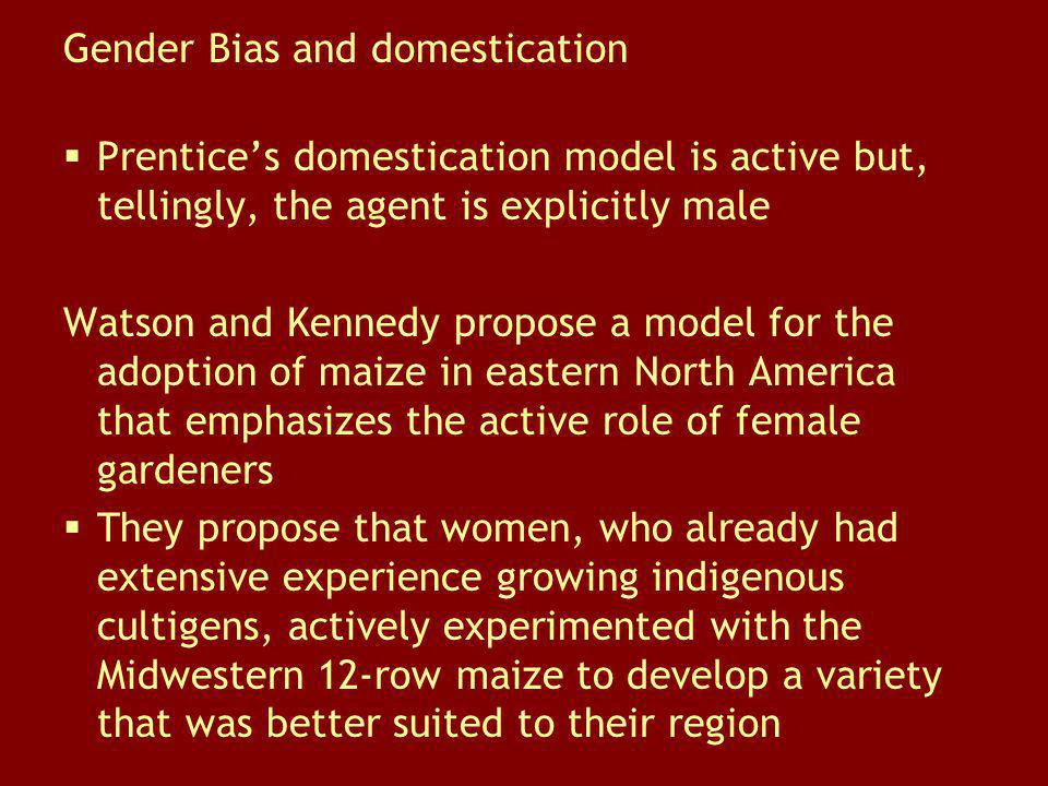 Gender Bias and domestication Prentices domestication model is active but, tellingly, the agent is explicitly male Watson and Kennedy propose a model