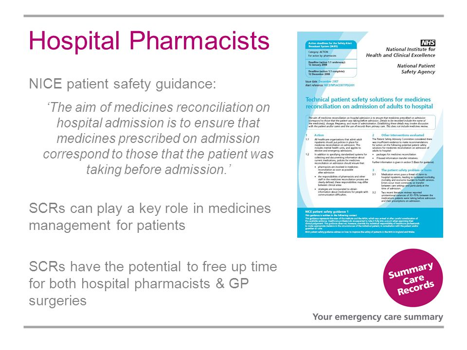 Hospital Pharmacists NICE patient safety guidance: The aim of medicines reconciliation on hospital admission is to ensure that medicines prescribed on