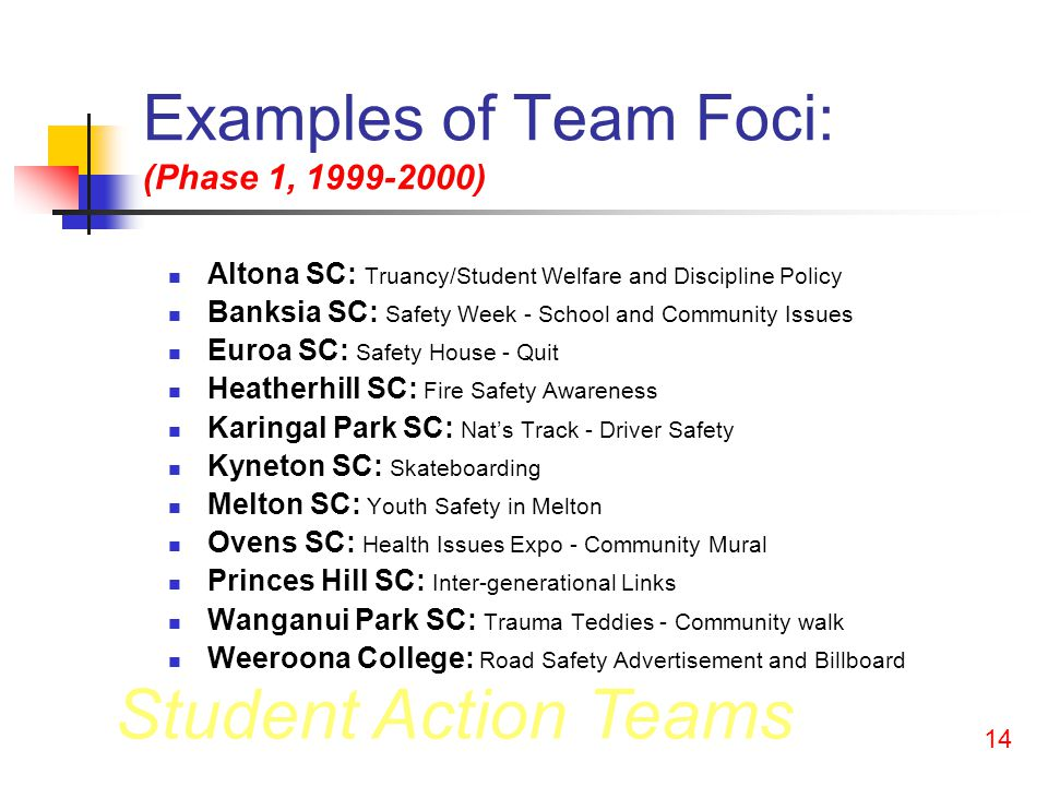 Student Action Teams 13 Victorian State Program 1999-2001 Schools received: Small grants; Orientation meeting; Staff and student training (phase 1); Some local support and professional development; Student/teacher forums (phase 1); Manuals (phase 2).