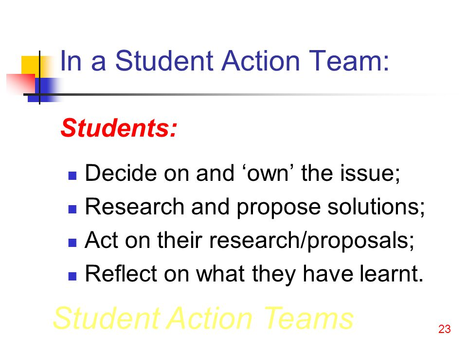 Student Action Teams 22 Principles: Students can make serious and important decisions about issues that are important to them; Students can do important and valuable things; Important action can be taken as part of students learning in schools.