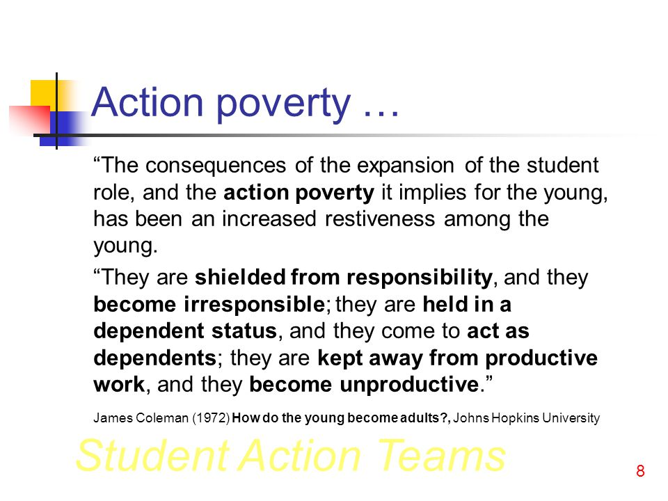 Student Action Teams 8 Action poverty … The consequences of the expansion of the student role, and the action poverty it implies for the young, has been an increased restiveness among the young.