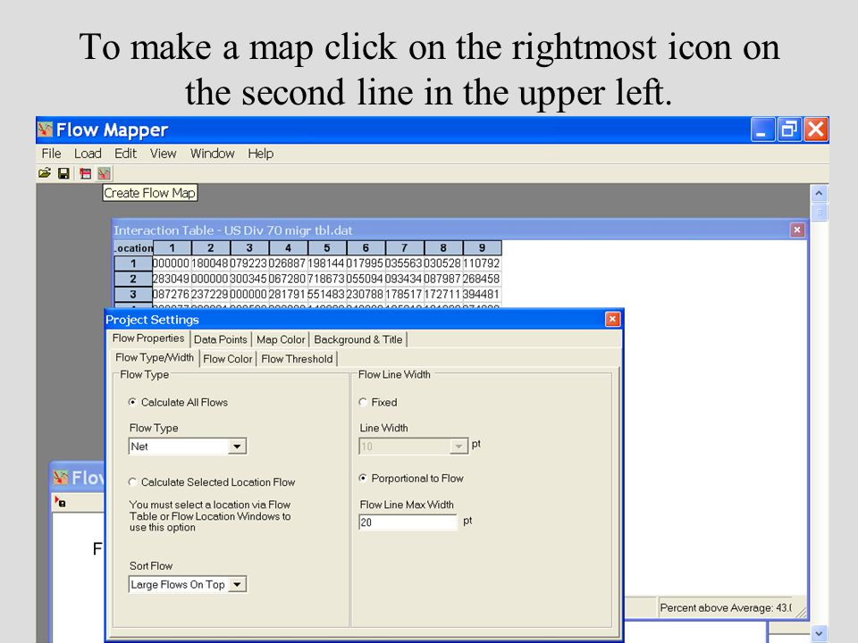 To make a map click on the rightmost icon on the second line in the upper left.