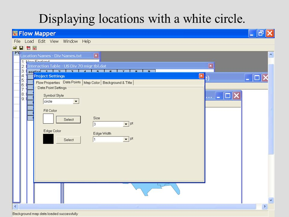 Displaying locations with a white circle.