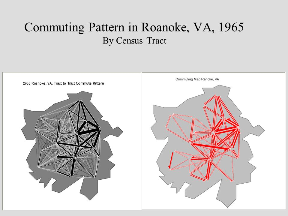 Commuting Pattern in Roanoke, VA, 1965 By Census Tract