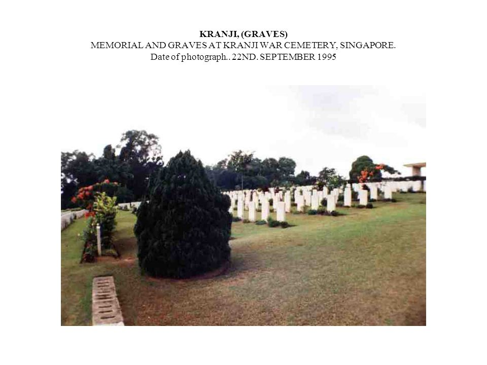 KRANJI MEMORIAL AND GRAVES AT KRANJI WAR CEMETERY, SINGAPORE.