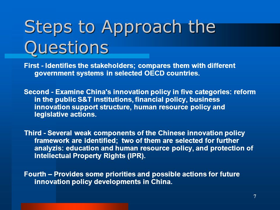8 The Governance Models of Innovation Policy Matter in China (1) A coordination mechanism in Chinas State Council --- State Steering Committee of S&T and Education, founded in 1998.