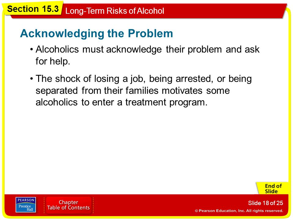 Section 15.3 Long-Term Risks of Alcohol Slide 18 of 25 Alcoholics must acknowledge their problem and ask for help. Acknowledging the Problem The shock