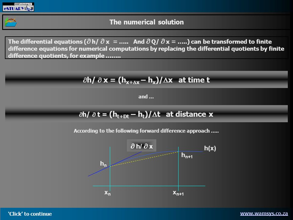 Click to continue www.wamsys.co.za The numerical solution The differential equations ( h/ x = …..