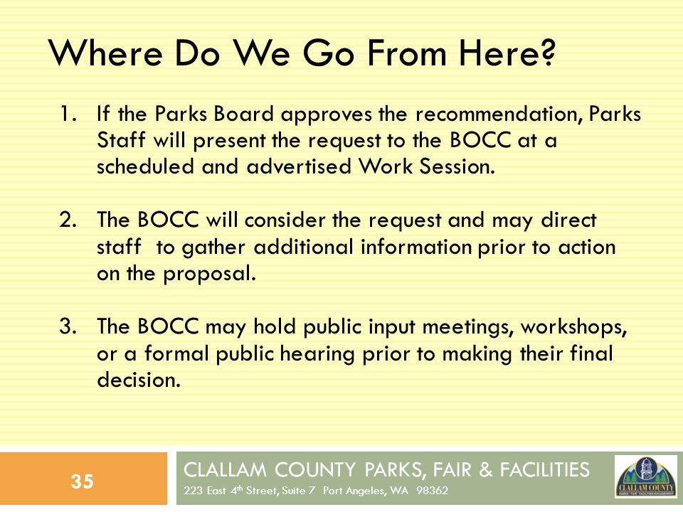 CLALLAM COUNTY PARKS, FAIR & FACILITIES 223 East 4 th Street, Suite 7 Port Angeles, WA 98362 35 Where Do We Go From Here.