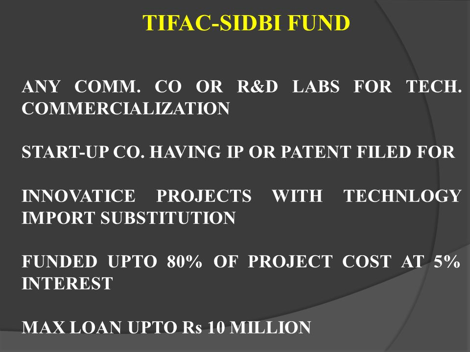 ANY COMM. CO OR R&D LABS FOR TECH. COMMERCIALIZATION START-UP CO. HAVING IP OR PATENT FILED FOR INNOVATICE PROJECTS WITH TECHNLOGY IMPORT SUBSTITUTION