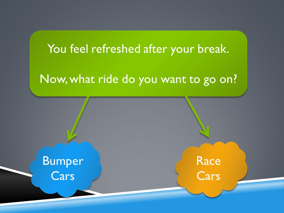 You feel refreshed after your break. Now, what ride do you want to go on.