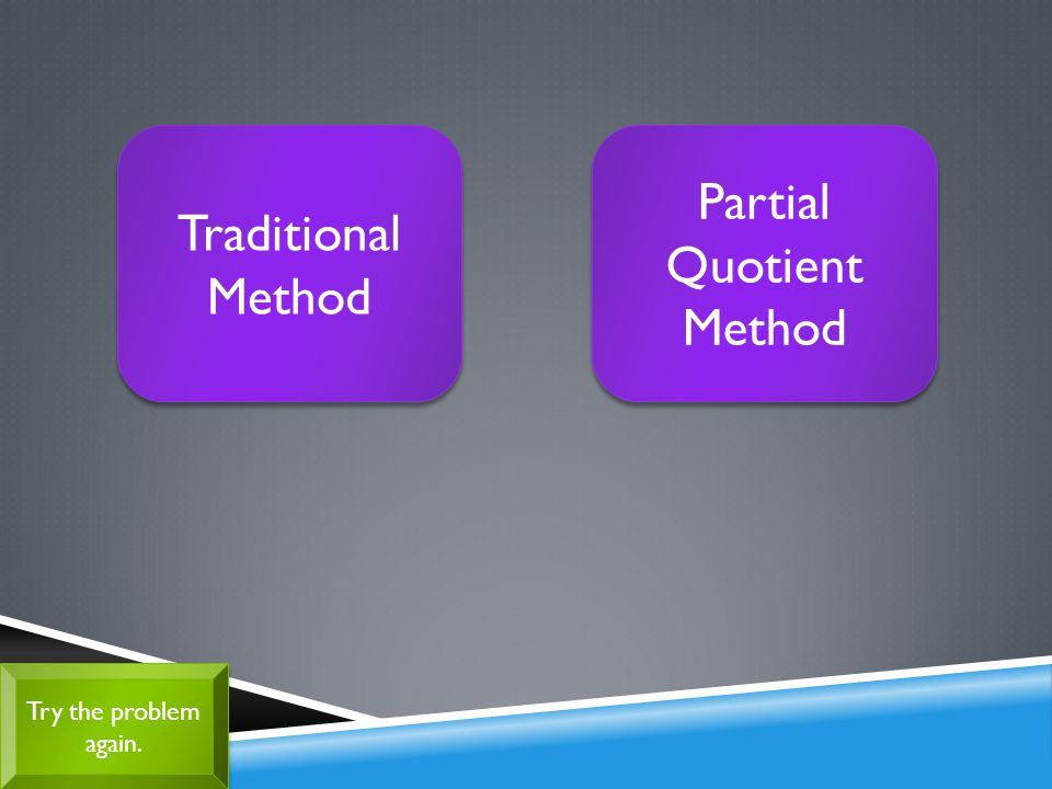 Try the problem again. Try the problem again. Traditional Method Traditional Method Partial Quotient Method Partial Quotient Method