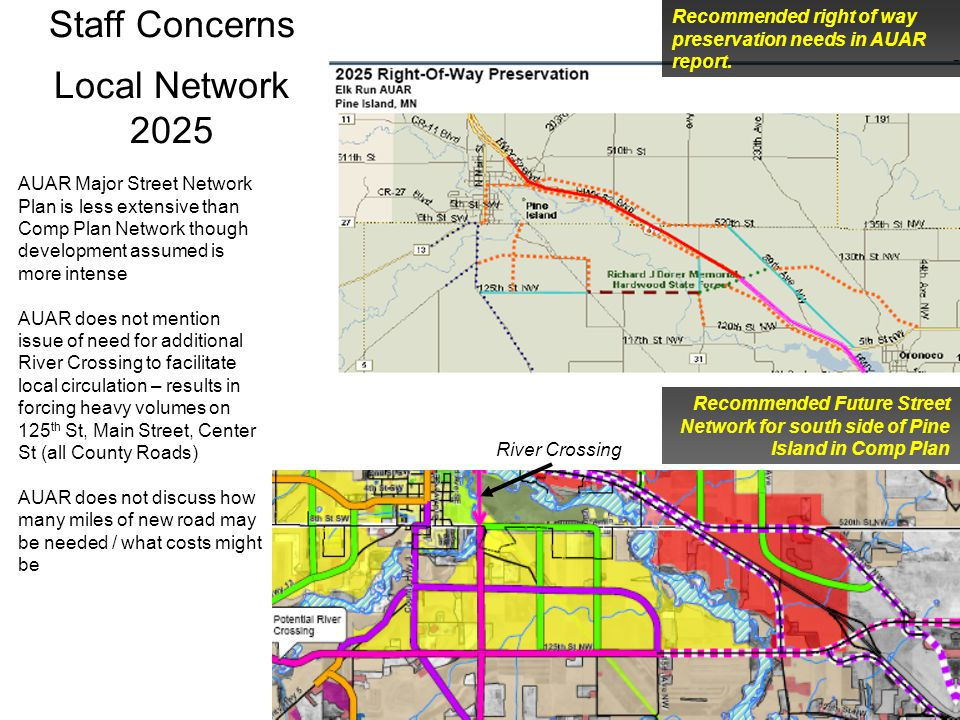 Staff Concerns Local Network 2025 Recommended Future Street Network for south side of Pine Island in Comp Plan Recommended right of way preservation needs in AUAR report.