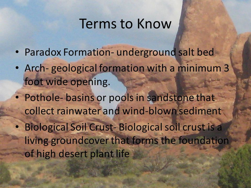 Terms to Know Paradox Formation- underground salt bed Arch- geological formation with a minimum 3 foot wide opening.