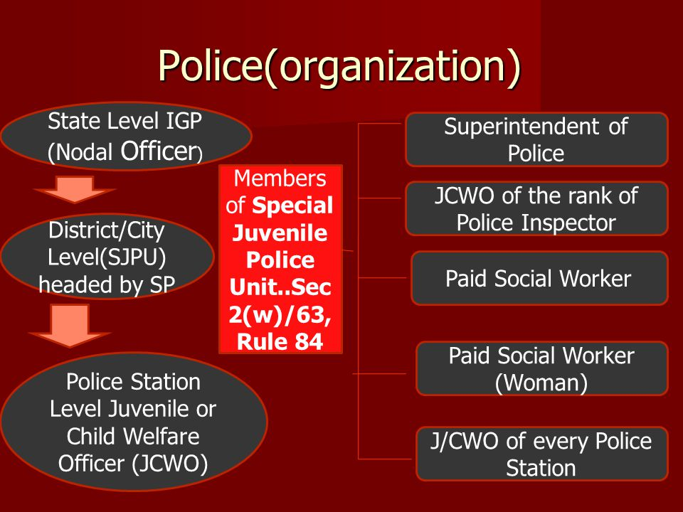 Police(organization) State Level IGP (Nodal Officer ) District/City Level(SJPU) headed by SP Police Station Level Juvenile or Child Welfare Officer (J