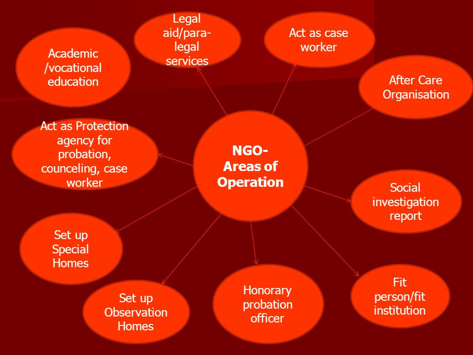 NGO- Areas of Operation Legal aid/para- legal services Act as case worker After Care Organisation Social investigation report Fit person/fit instituti