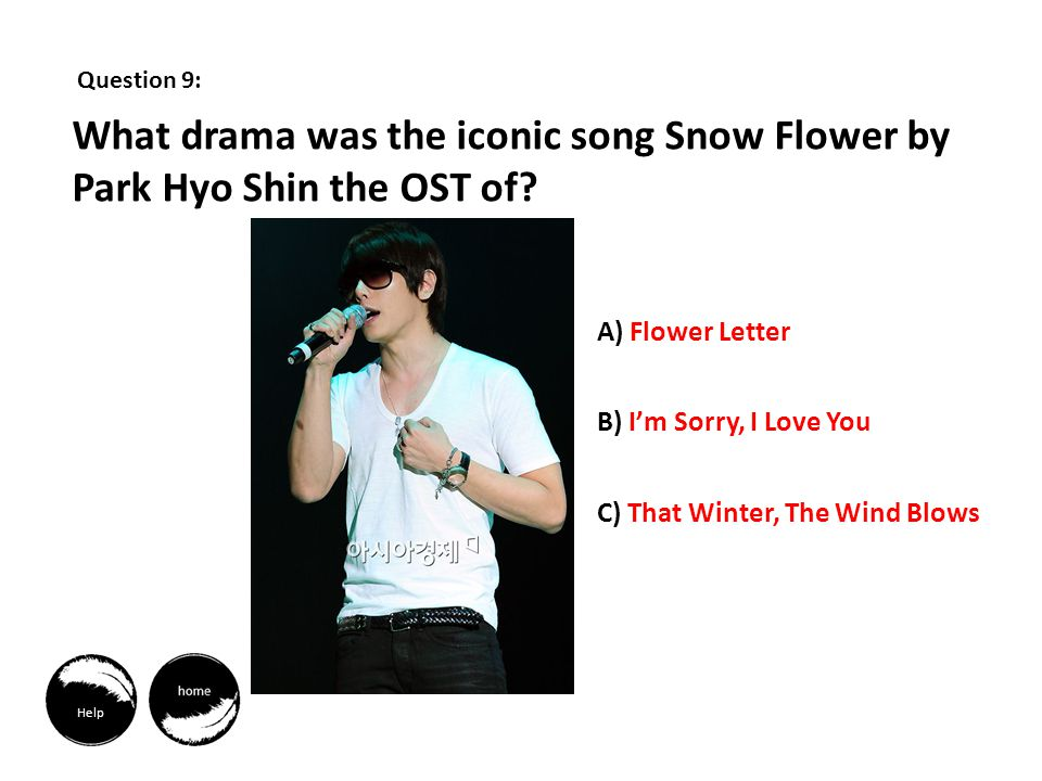 Question 9: What drama was the iconic song Snow Flower by Park Hyo Shin the OST of.