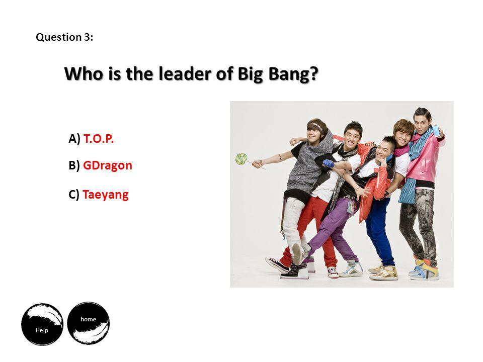 Help Who is the leader of Big Bang A) T.O.P. B) GDragon C) Taeyang Question 3: