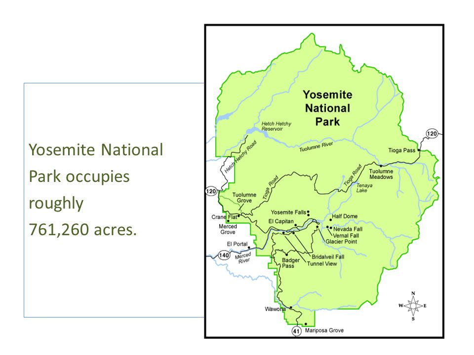 Yosemite National Park occupies roughly 761,260 acres.