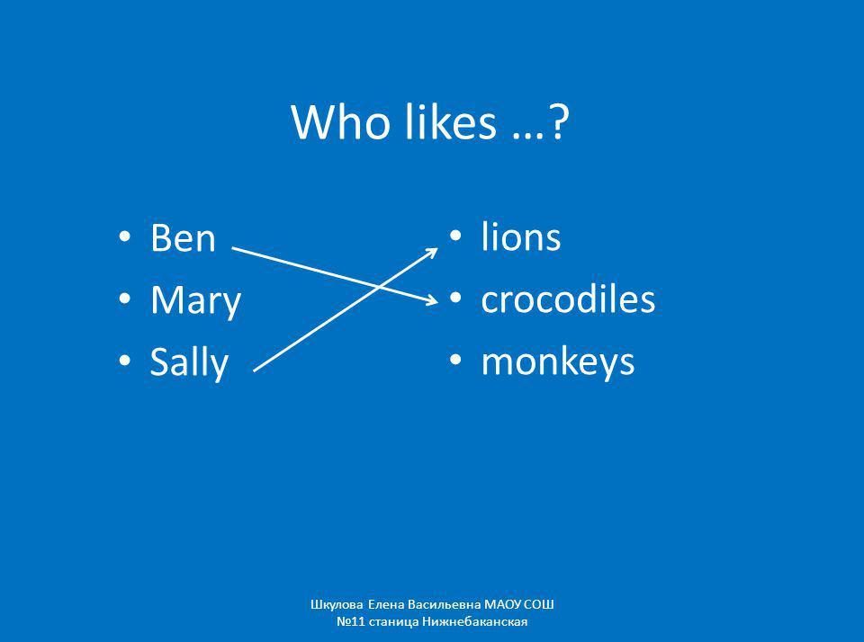 Who likes …? Ben Mary Sally lions crocodiles monkeys Шкулова Елена Васильевна МАОУ СОШ 11 станица Нижнебаканская