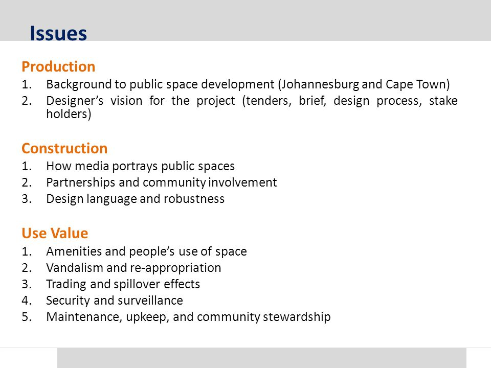 Background to public space development Production JohannesburgCape Town Johannesburg Development AgencyCity of Cape Town Gauteng Growth and Development AgencyQuality Public Spaces Programme/Dignified Places Programme City of JohannesburgCape Town Spatial Development Framework Inner City Public Space ChallengeViolence Prevention through Urban Upgrade Programme Urban Design Branch