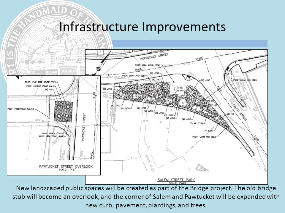 New landscaped public spaces will be created as part of the Bridge project.