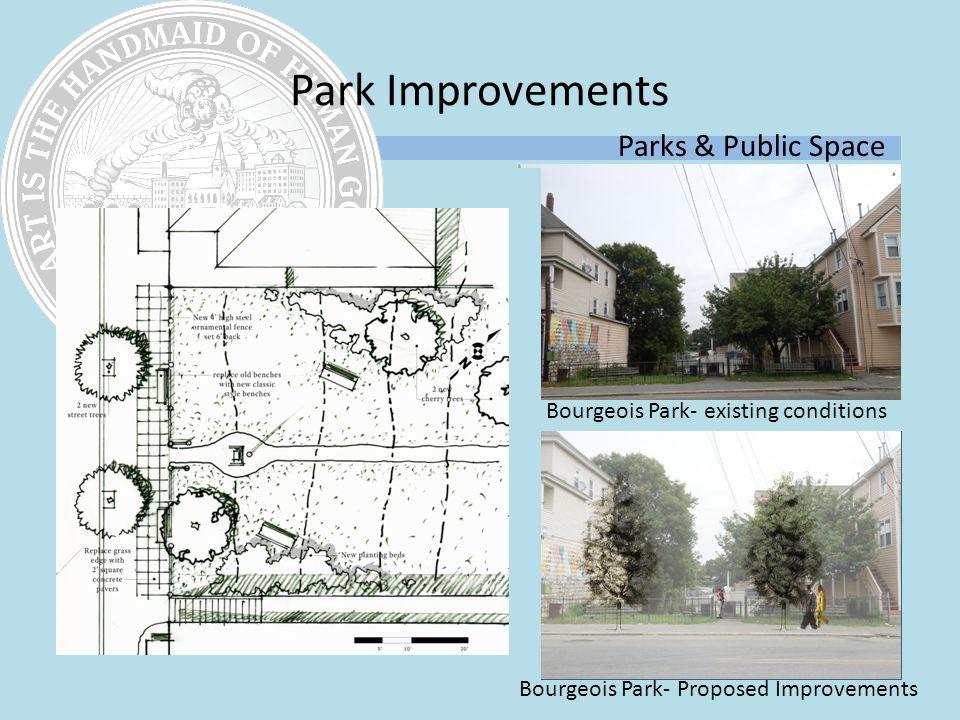 Park Improvements Parks & Public Space Bourgeois Park- existing conditions Bourgeois Park- Proposed Improvements