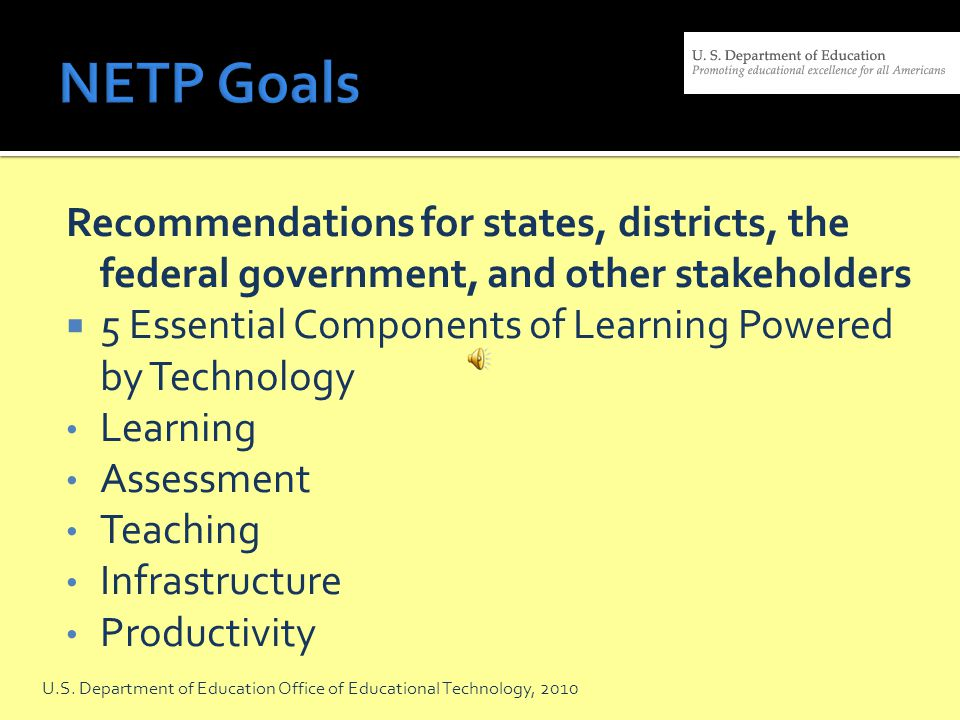 Goal: Technology Literacy: To assist every student in crossing the digital divide by ensuring that every student is technology literate by the time the student finishes the eighth grade, regardless of the student s race, ethnicity, gender, family income, geographic location, or disability.