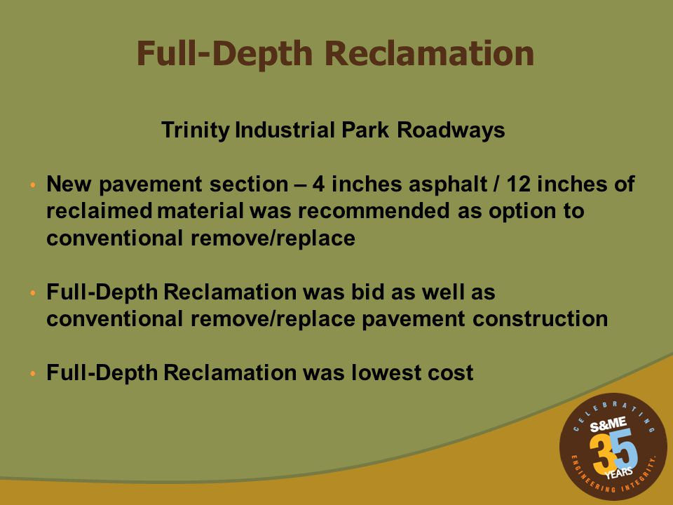 Trinity Industrial Park Roadways Cement placed on existing asphalt