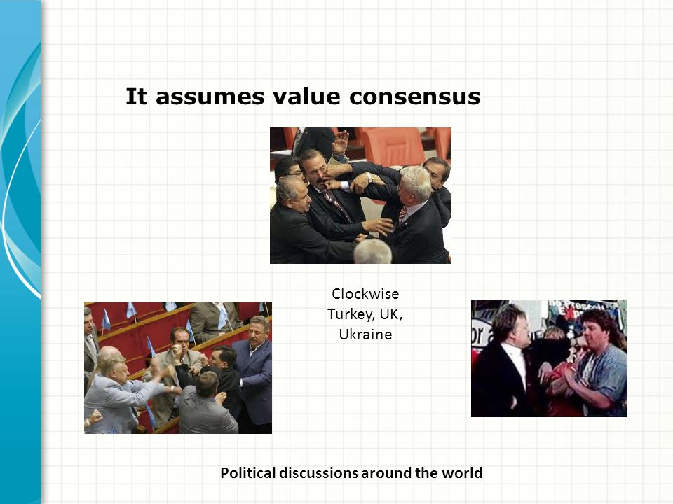 It assumes value consensus Political discussions around the world Clockwise Turkey, UK, Ukraine