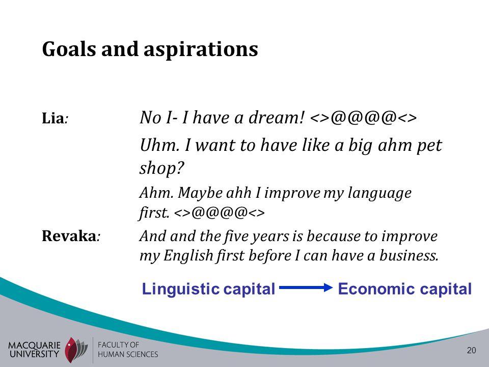 20 Goals and aspirations Lia: No I- I have a dream.
