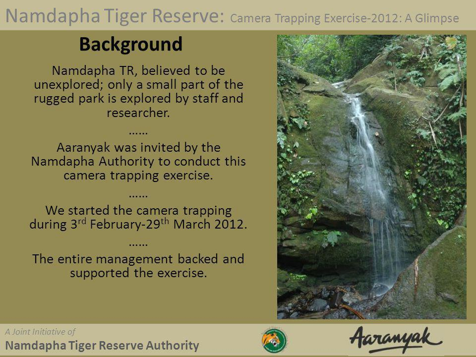 Namdapha Tiger Reserve: Camera Trapping Exercise-2012: A Glimpse A Joint Initiative of Namdapha Tiger Reserve Authority Programme Activities involved Identification of Animal Trails and Paths Identification of suitable camera locations Fixing cameras Monitoring cameras every 4-10 days.