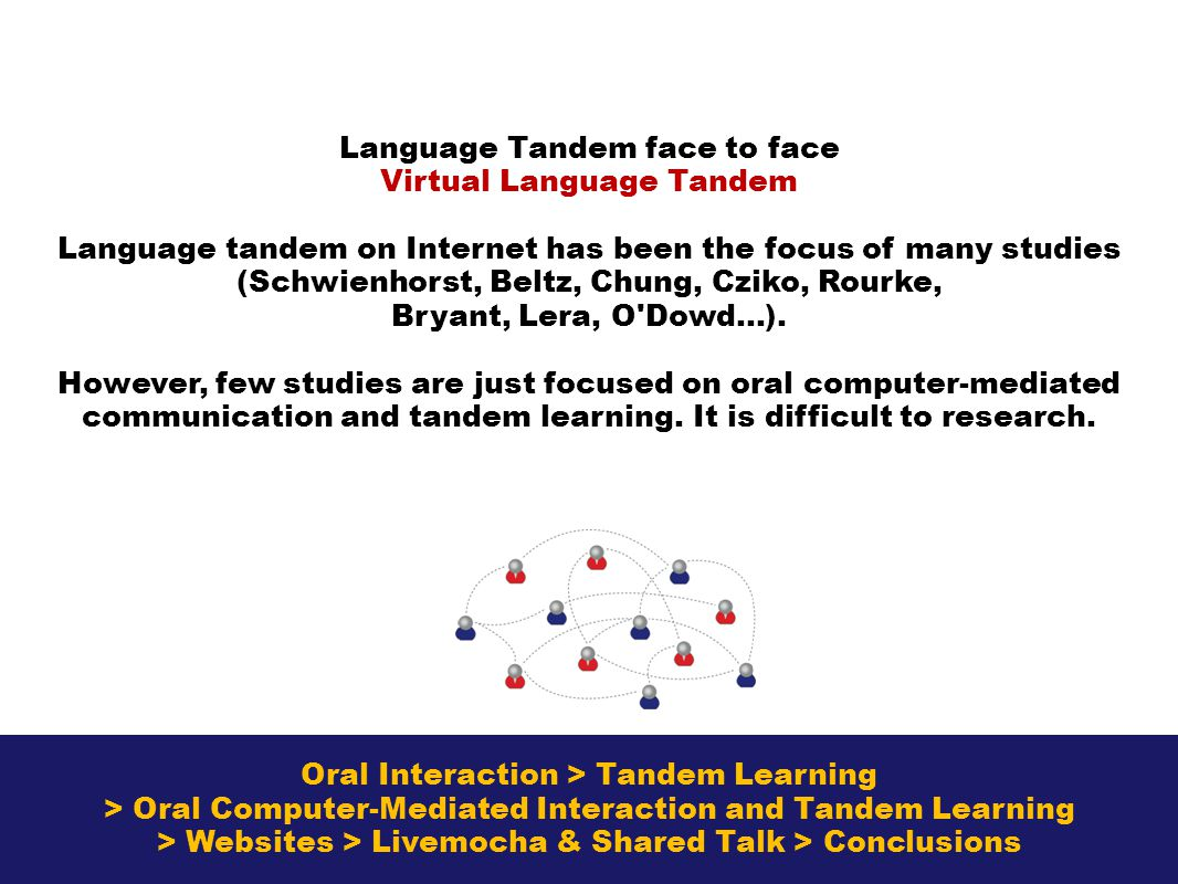 Oral Interaction > Tandem Learning > Oral Computer-Mediated Interaction and Tandem Learning > Websites > Livemocha & Shared Talk > Conclusions Language Tandem face to face Virtual Language Tandem Language tandem on Internet has been the focus of many studies (Schwienhorst, Beltz, Chung, Cziko, Rourke, Bryant, Lera, O Dowd…).