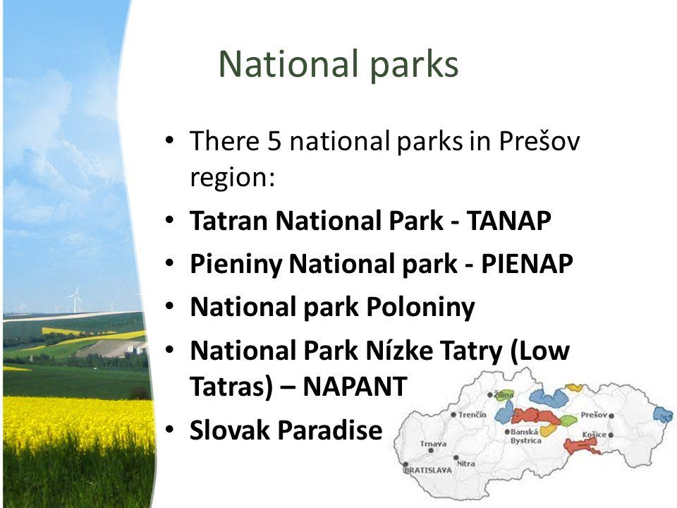 National parks There 5 national parks in Prešov region: Tatran National Park - TANAP Pieniny National park - PIENAP National park Poloniny National Pa