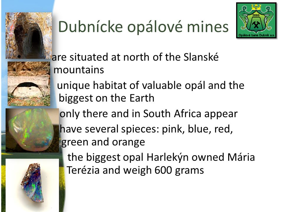 Dubnícke opálové mines are situated at north of the Slanské mountains unique habitat of valuable opál and the biggest on the Earth only there and in S