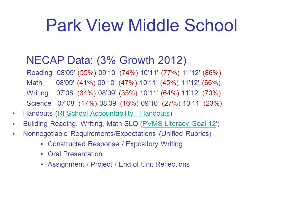 Park View Middle School NECAP Data: (3% Growth 2012) Reading 0809 (55%) 0910 (74%) 1011 (77%) 1112 (86%) Math 0809 (41%) 0910 (47%) 1011 (45%) 1112 (66%) Writing 0708 (34%) 0809 (35%) 1011 (64%) 1112 (70%) Science 0708 (17%) 0809 (16%) 0910 (27%) 1011 (23%) Handouts (RI School Accountability - Handouts)RI School Accountability - Handouts Building Reading, Writing, Math SLO (PVMS Literacy Goal 12)PVMS Literacy Goal 12 Nonnegotiable Requirements/Expectations (Unified Rubrics) Constructed Response / Expository Writing Oral Presentation Assignment / Project / End of Unit Reflections