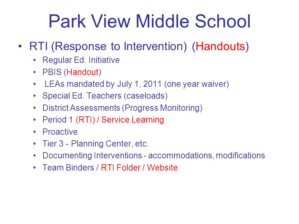Park View Middle School RTI (Response to Intervention) (Handouts) Regular Ed.
