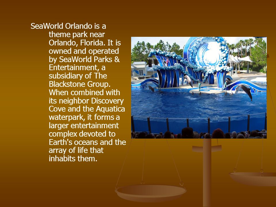 SeaWorld Orlando is a theme park near Orlando, Florida.