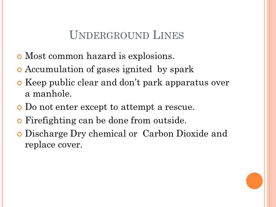 U NDERGROUND L INES Most common hazard is explosions.
