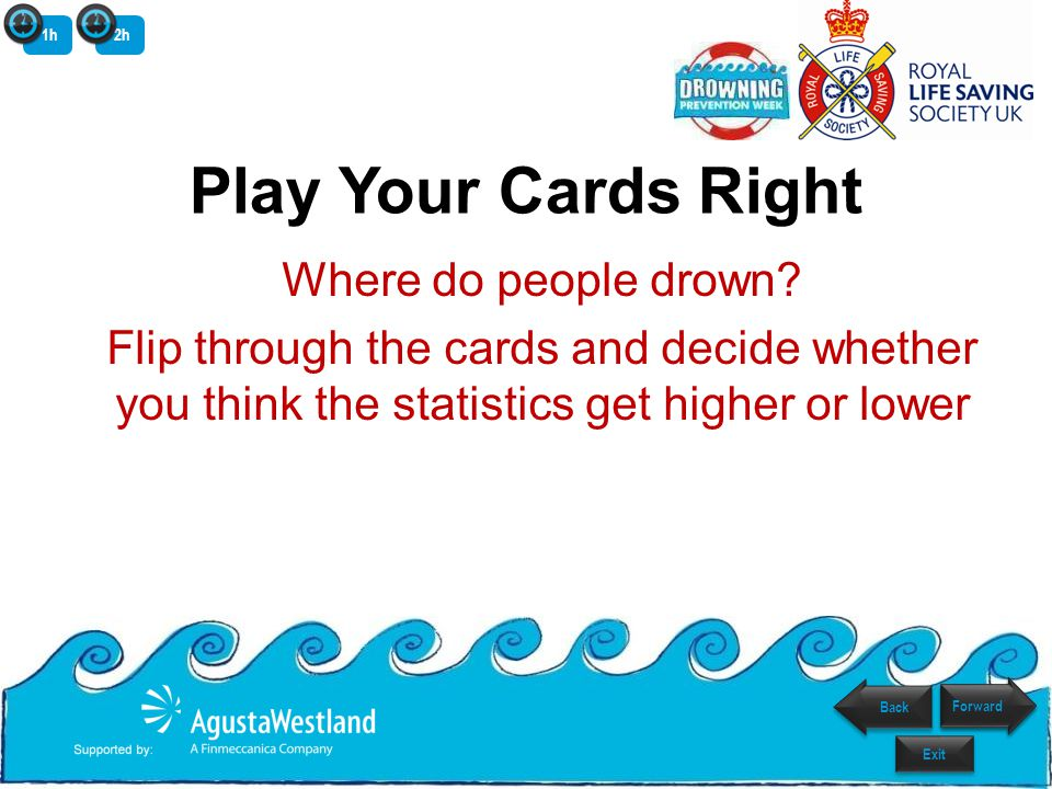 Play Your Cards Right Where do people drown? Flip through the cards and decide whether you think the statistics get higher or lower 1h2h Back Exit For