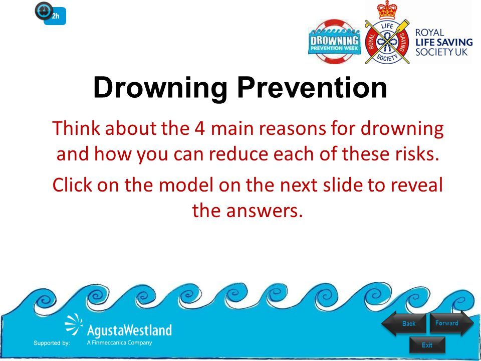 REDUCE DROWNINGS Drowning Prevention Model Cause of drowning Action to prevent drowning Key Reset Resetting Poster 2h Forward Back Exit