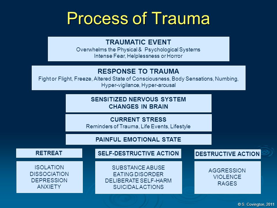 Process of Trauma TRAUMATIC EVENT Overwhelms the Physical & Psychological Systems Intense Fear, Helplessness or Horror SENSITIZED NERVOUS SYSTEM CHANG
