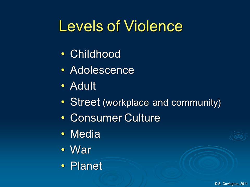 Levels of Violence Childhood Childhood Adolescence Adolescence Adult Adult Street (workplace and community) Street (workplace and community) Consumer