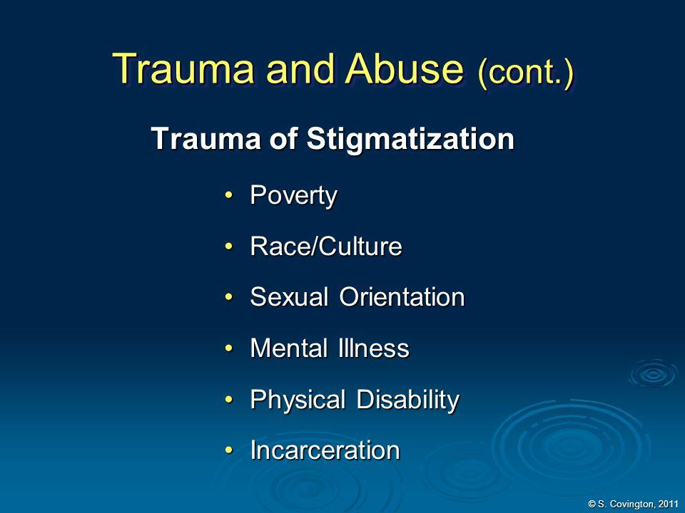 Trauma of Stigmatization PovertyPoverty Race/CultureRace/Culture Sexual OrientationSexual Orientation Mental IllnessMental Illness Physical Disability