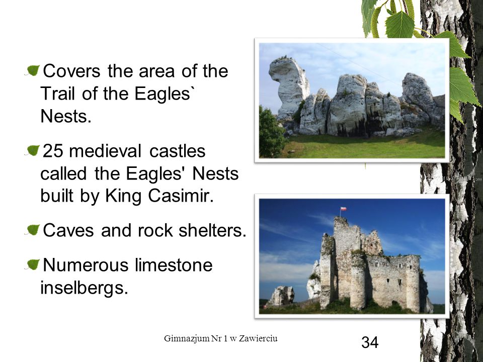 Covers the area of the Trail of the Eagles` Nests. 25 medieval castles called the Eagles' Nests built by King Casimir. Caves and rock shelters. Numero